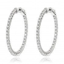 Diamond Hoops 14K Gold Diamond Hoop Earrings Inside Out 3.5ct