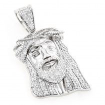 Diamond Jesus Head Pendant 0.75ct 10K Gold Mini Jesus Face Charm