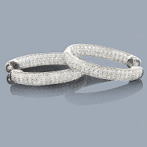 Unique Inside Out Diamond Oval Hoop Earrings 2.18ct 14K White Gold