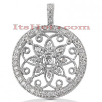 Diamond Pendants: 14K Filigree Circle Diamond Pendant 1.15