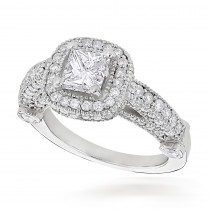 Halo Princess Cut and Round Diamond Platinum Engagement Ring 2.05ct