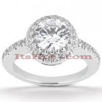 Halo Diamond Platinum Engagement Ring Mounting 0.26ct