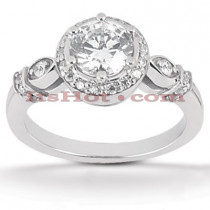 Halo Diamond Platinum Engagement Ring Mounting 0.28ct