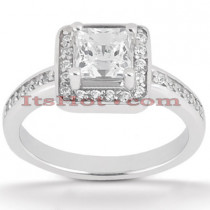Halo Diamond Platinum Engagement Ring Mounting 0.30ct