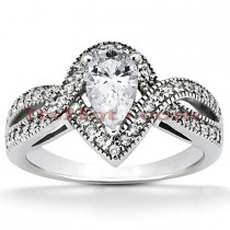 Diamond Platinum Engagement Ring Mounting 0.33ct