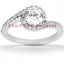 Halo Diamond Platinum Engagement Ring Mounting 0.34ct