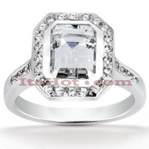 Halo Diamond Platinum Engagement Ring Mounting 0.37ct