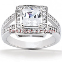 Halo Diamond Platinum Engagement Ring Mounting 0.41ct