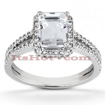 Halo Diamond Platinum Engagement Ring Mounting 0.59ct