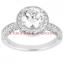 Halo Diamond Platinum Engagement Ring Mounting 0.60ct