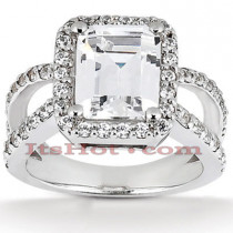 Halo Diamond Platinum Engagement Ring Mounting 0.66ct