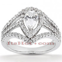 Halo Diamond Platinum Engagement Ring Mounting 0.73ct