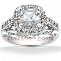 Halo Diamond Platinum Engagement Ring Mounting 0.78ct