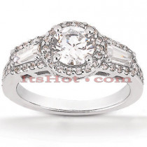 Halo Diamond Platinum Engagement Ring Mounting 0.86ct