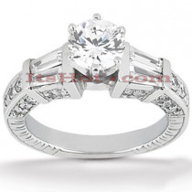 Diamond Platinum Engagement Ring Mounting 0.88ct