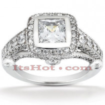 Halo Diamond Platinum Engagement Ring Mounting 0.99ct