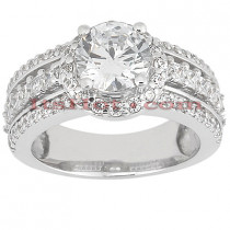 Halo Diamond Platinum Engagement Ring Mounting 1.01ct