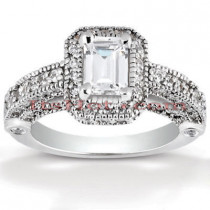 Halo Diamond Platinum Engagement Ring Mounting 1.05ct
