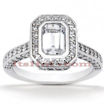 Halo Diamond Platinum Engagement Ring Mounting 1ct