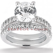 Diamond Platinum Engagement Ring Mounting Set 1.65ct