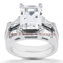 Emerald Cut Diamond Platinum Engagement Ring Set 1.24ct