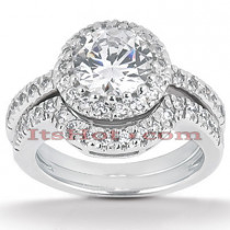 Diamond Platinum Engagement Ring Set 1.43ct