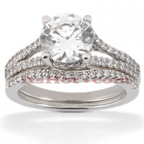 Diamond Platinum Engagement Ring Set 1.57ct