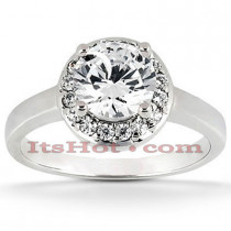 Halo Diamond Platinum Engagement Ring Setting 0.16ct