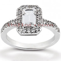 Halo Diamond Platinum Engagement Ring Setting 0.28ct