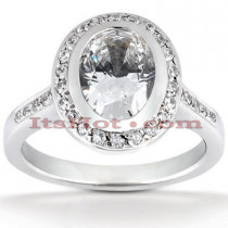 Halo Diamond Platinum Engagement Ring Setting 0.35ct