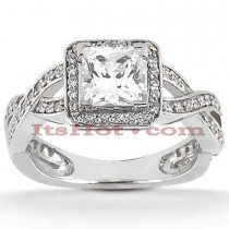 Halo Diamond Platinum Engagement Ring Setting 0.37ct