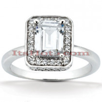 Halo Diamond Platinum Engagement Ring Setting 0.41ct