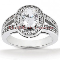 Halo Diamond Platinum Engagement Ring Setting 0.42ct