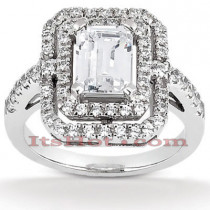 Halo Diamond Platinum Engagement Ring Setting 0.66ct