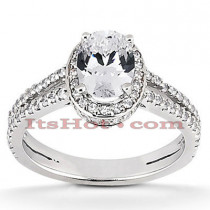 Halo Diamond Platinum Engagement Ring Setting 0.67ct