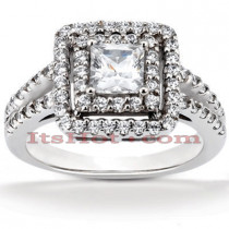 Halo Diamond Platinum Engagement Ring Setting 0.72ct