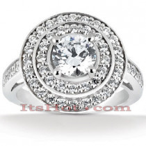 Halo Diamond Platinum Engagement Ring Setting 0.80ct