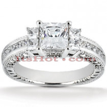 Diamond Platinum Engagement Ring Setting 0.88ct