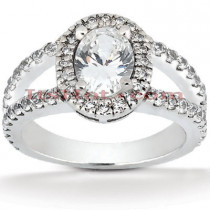 Halo Diamond Platinum Engagement Ring Setting 0.90ct