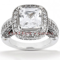 Halo Diamond Platinum Engagement Ring Setting 1.05ct