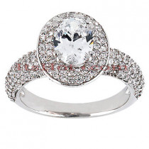 Halo Diamond Platinum Engagement Ring Setting 1.15ct