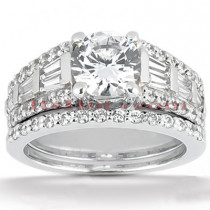Diamond Platinum Engagement Ring Setting 1.37ct