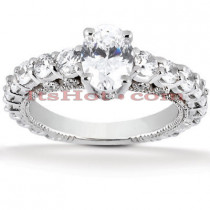 Diamond Platinum Engagement Ring Setting 1.50ct