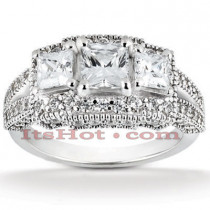 Diamond Platinum Engagement Ring Setting 1.53ct
