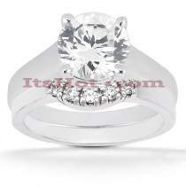 Diamond Platinum Engagement Ring Setting Set 0.08ct