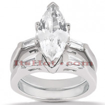 Diamond Platinum Engagement Ring Setting Set 0.32ct