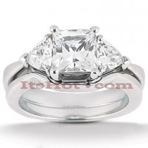 Diamond Platinum Engagement Ring Setting Set 0.50ct