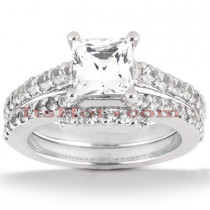 Diamond Platinum Engagement Ring Setting Set 0.54ct