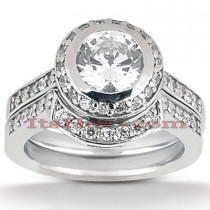 Diamond Platinum Engagement Ring Setting Set 0.60ct
