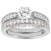 Diamond Platinum Engagement Ring Setting Set 0.62ct